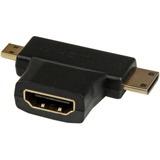 StarTech.com HDMI 2-in-1 T-Adapter - HDMI to HDMI Mini or HDMI Micro Combo Adapter - F/M