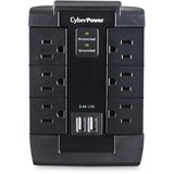 CyberPower CSP600WSU Professional 6 Swivel Outlets Surge with 1200J, 2-2.1A USB & Wall Tap