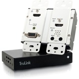 C2G HDMI and VGA + Stereo Audio HDBaseT over Cat Extender White Wall Plate Transmitter to HDMI Box Receiver