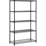 Honey-can-do SHF-01440 Industrial 5-Tier Adjustable Storage Shelving Unit, Black