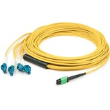 AddOn 5m MPO (Female) to 8xLC (Male) 8-Strand Yellow OS2 OFNR (Riser-Rated) Fiber Fanout Cable