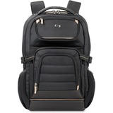 "Solo Pro Carrying Case (Backpack) for 17.3"" Notebook, iPad, Tablet, Digital Text Reader, Charger, Key, Headset, Accessories, File - Black, Gold"