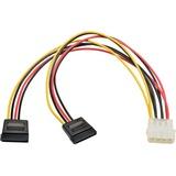 Tripp Lite 12in Serial ATA SATA Dual Power Adapter Cable LP4 4Pin 2x15Pin