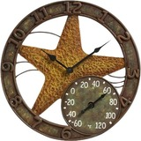 "Springfield 14"" Polystone Starfish Clock and Thermometer"