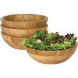 Lipper Bamboo Small Salad Bowls, 4-Piece Set