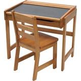 Lipper Child's Chalkboard Desk & Chair, 2-Piece Set, Pecan Finish