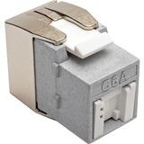 Tripp Lite Cat6a Keystone Jack with Dust Shutter, 180-Degree Toolless - Silver - 1 x RJ-45 Female