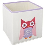 Whitmor Kid's Canvas Collection Pink Owl Collapsible Cube
