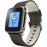 Pebble Time Steel Black with Leather Band