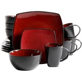 Gibson Home Soho Lounge 16-Piece Dinnerware Set, Red