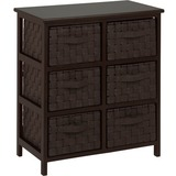Honey-can-do TBL-03759 Woven Strap 6 Drawer Chest with Wooden Frame