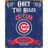 Party Animal Chicago Cubs Embossed Metal Sign