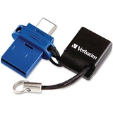 Verbatim 32GB Store 'n' Go Dual USB Flash Drive for USB-C Devices - Blue