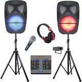 QFX Speaker System - Pole-mountable, Portable - Battery Rechargeable - Wireless Speaker(s) - Black