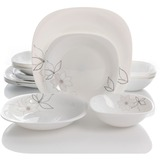 Oster Nia 16 Piece Double Bowl Dinnerware Set - Chip Resistant