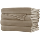 Sunbeam King Velvet Plush Heated Blanket, Mushroom