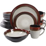 Gibson Elite Couture Bands 16-Piece Dinnerware Set, Red