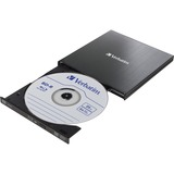 Verbatim External Slimline Portable USB 3.0 BD/DVD/CD Writer with M-DISC Support for PC and Mac, Metallic Black