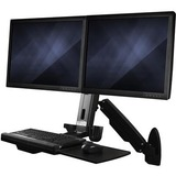 StarTech.com Wall Mount Workstation, Full Motion Standing Desk with Ergonomic Height Adjustable Dual VESA Monitor & Keyboard Tray Arm