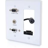 C2G Decorative Dual Gang VGA, 3.5mm Audio and HDMI Wall Plate White