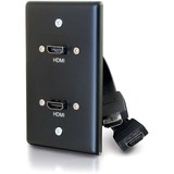 C2G Single Gang Wall Plate with Dual HDMI Pigtails Black