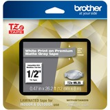 "Brother P-touch TZe-ML35 White Print on Premium Matte Gray Laminated Tape 12mm (0.47"") wide x 8m (26.2') long"
