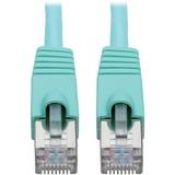 Tripp Lite Cat6a Ethernet Cable 10G STP Snagless Shielded PoE M/M Aqua 2ft