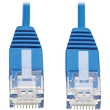 Tripp Lite Cat6a 10G Certified Molded Ultra-Slim UTP Ethernet Cable (RJ45 M/M), Blue, 1 ft.