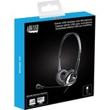 Adesso USB Stereo Headset with Adjustable Microphone- Noise Cancelling- Mono