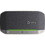 Poly Sync 20 Portable Speakerphone, USB-C, Bluetooth for Smartphone, Microphone, Battery Black, Silver