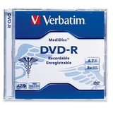 Verbatim MediDisc DVD-R 4.7GB 8X Thermal Printable Branded Surface - 1pk Jewel Case - TAA Compliant