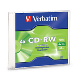 Verbatim CD-RW 700MB 2X-4X with Branded Surface - 1pk Slim Case