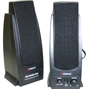 Inland Pro Sound 2000 2.0 Speaker System - 7.20 W RMS - Black