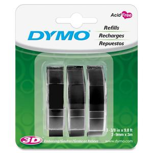 DYMO EMBOSSING TAPE BLACK 3PK