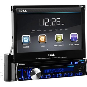 BOSS AUDIO BV9986BI Single-DIN 7 inch Motorized Touchscreen DVD Player, Receiver, Bluetooth, Detachable Front Panel, Wireless Remote