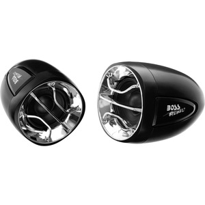 """BOSS AUDIO MC300 Weatherproof 2.5"""" 400 Watt Motorcycle/ATV Amplified Speaker System With Chrome and Black Grilles, 3.5 mm Aux Input, Volume Control and Handlebar Mount"""
