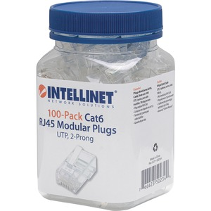 Intellinet Cat6 2-prong Modular Plugs, Jar of 100
