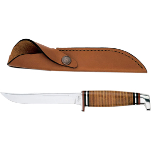 FIXED BLADE W/LEATHER SHEATH