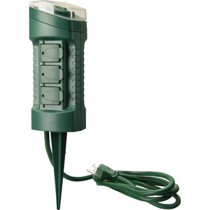 Woods Outdoor 6-Outlet Yard Stake w/ Built in Timer