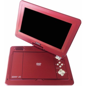 """Ziotech MDP1008 Portable DVD Player - 10.1"""" Display - Red"""