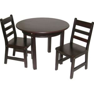 Lipper Child's Round Table with Shelf & 2 Chairs, Espresso Finish
