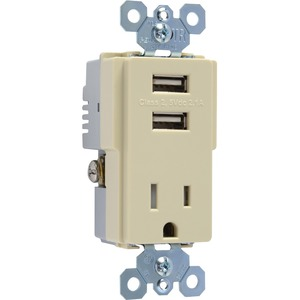 Pass & Seymour USB Charger with TR Recep, Ivory