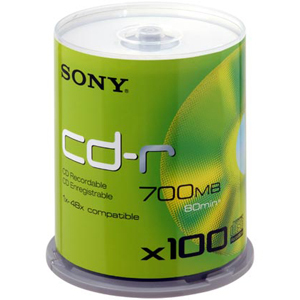 SONY CD-R 700MB 80MN 48X 100PK REPLACES 100CDQ80RS