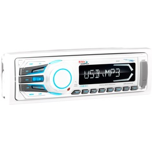 BOSS AUDIO MR1306UA Marine Single-DIN MECH-LESS Multimedia Player (no CD or DVD), Receiver, Detachable Front Panel, Wireless Remote