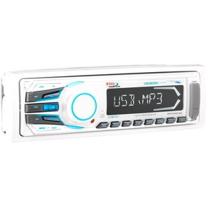 BOSS AUDIO MR1308UAB Marine Single-DIN MECH-LESS Multimedia Player (no CD or DVD), Receiver, Bluetooth, Detachable Front Panel, Wireless Remote