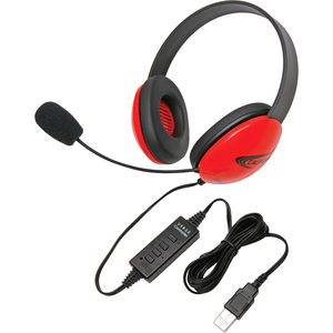 Califone Red Stereo Headphone w/ Mic, USB Connector Via Ergoguys