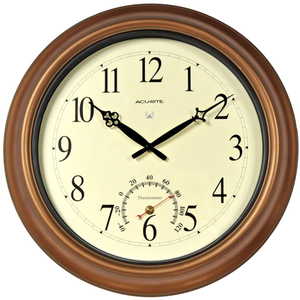 """AcuRite 18"""" Copper Indoor or Outdoor Atomic Clock with Thermometer 50314"""