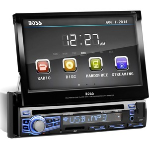 BOSS AUDIO BV9976B Single-DIN 7 inch Motorized Touchscreen DVD Player, Receiver, Bluetooth, Wireless Remote