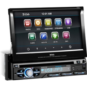 BOSS AUDIO BV9979B Single-DIN 7 inch Motorized Touchscreen DVD Player, Receiver, Bluetooth, Detachable Front Panel, Wireless Remote