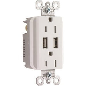 Pass & Seymour USB Charger with Duplex Decorator Tamper-Resistant Receptacle, White